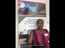 Mme Coulibaly de la Chambre Consulaire Régionale (CCR) explique le but du Mécanisme d'Alerte aux Obstacles au Commerce de l'UEMOA